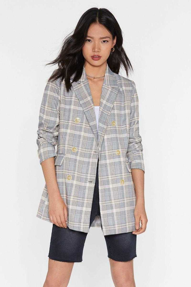 Business Babe Check Relaxed Blazer - Nasty Gal - GOOFASH