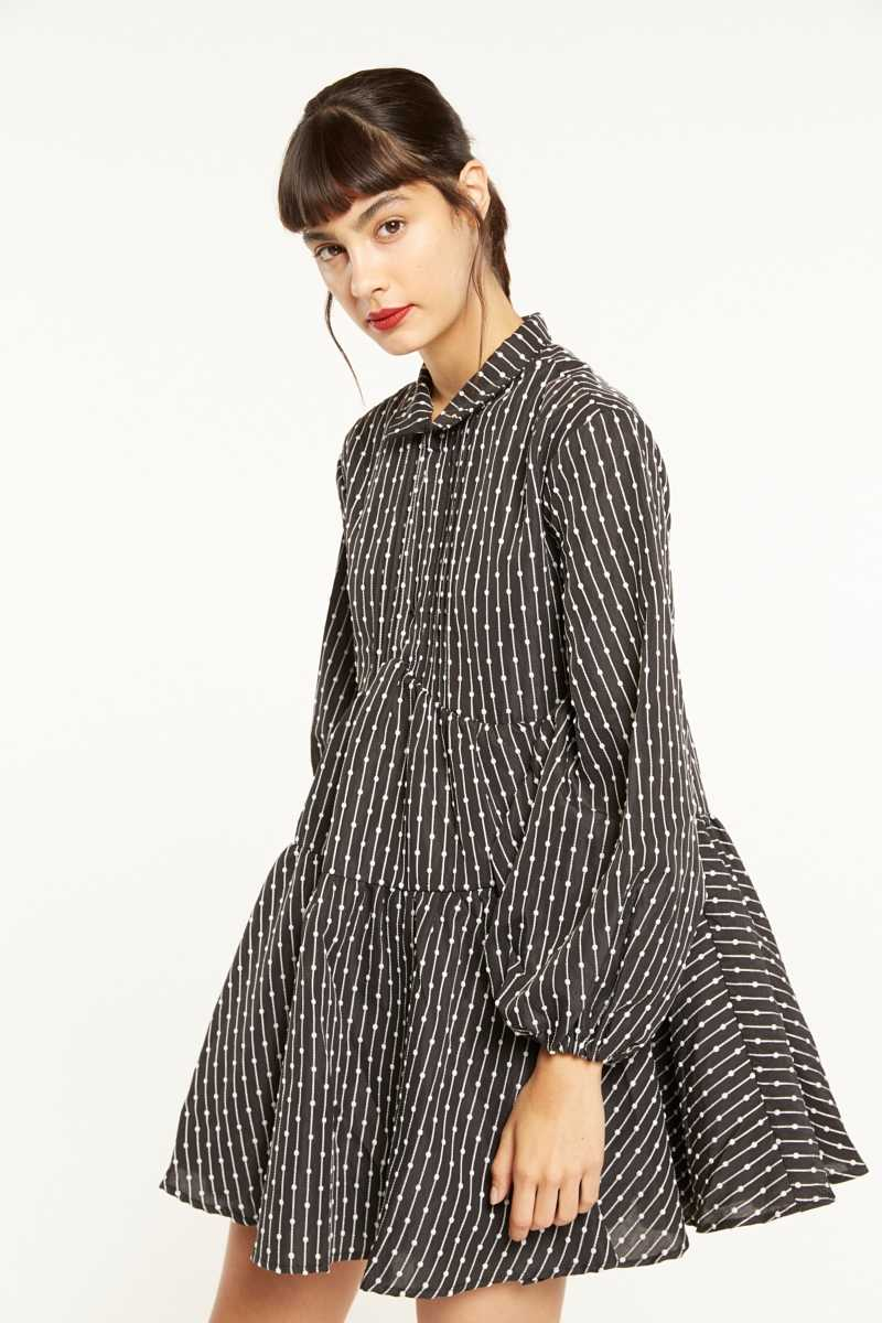 CMEO Balloon Sleeve Embroidered Smock Dress - Own The Look - GOOFASH