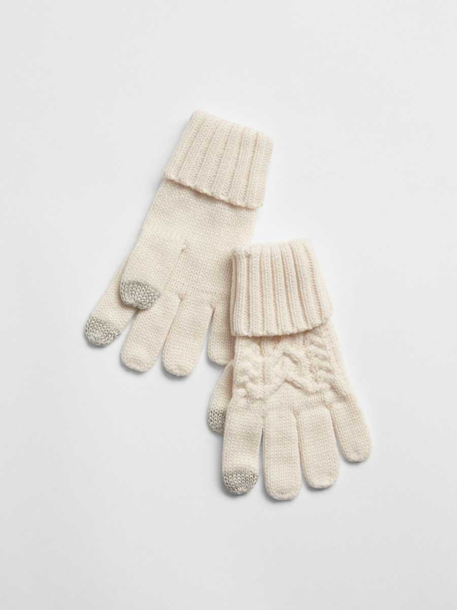 Cable-Knit Gloves Ivory Frost - Gap - GOOFASH