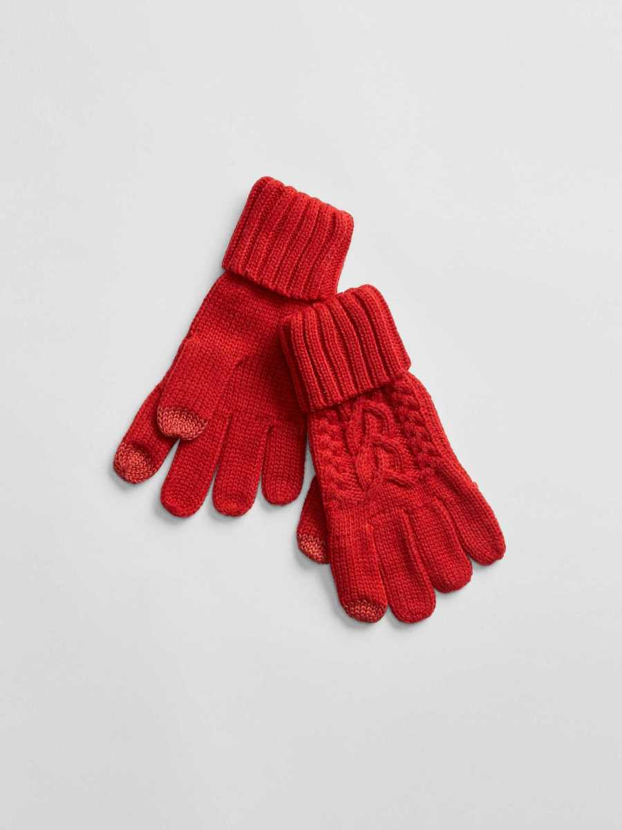 Cable-Knit Gloves Modern Red - Gap - GOOFASH