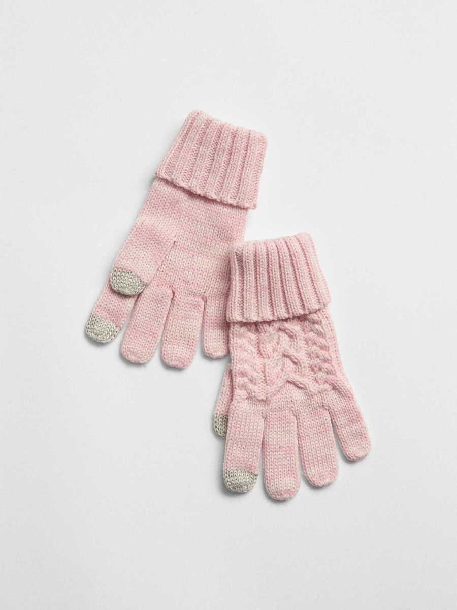 Cable-Knit Gloves Pink Dust - Gap - GOOFASH