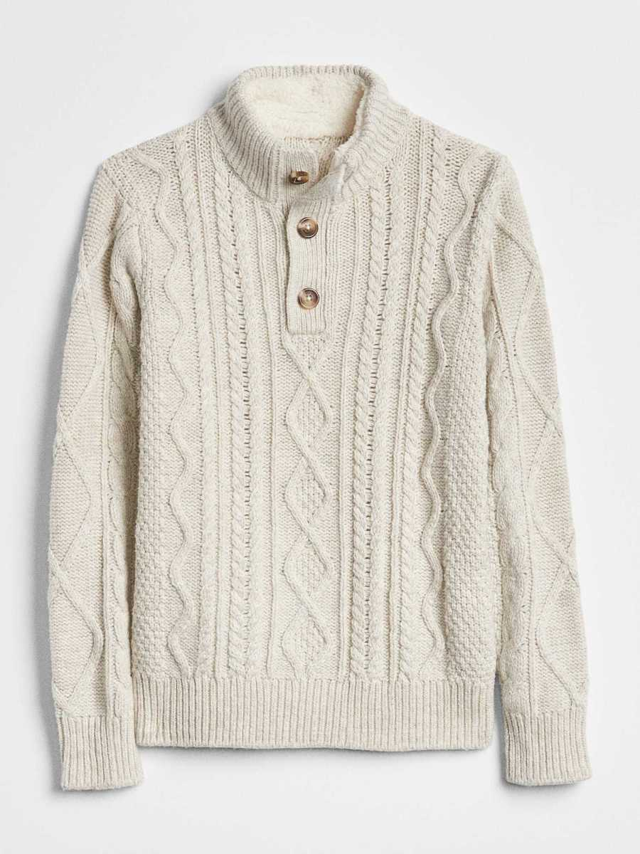 Cable-Knit Henley Sweater Oatmeal Heather B0210 - Gap - GOOFASH