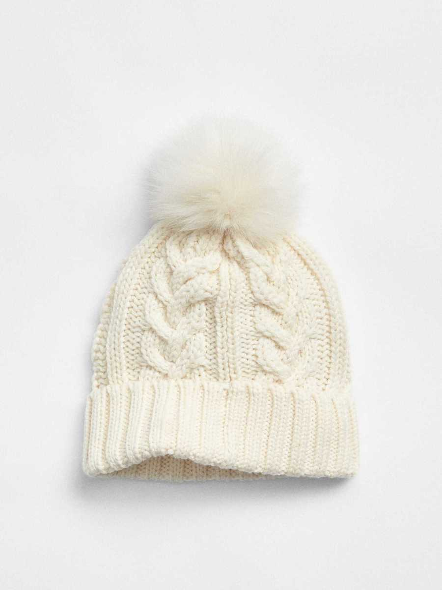 Cable-Knit Pom Beanie Ivory Frost - Gap - GOOFASH
