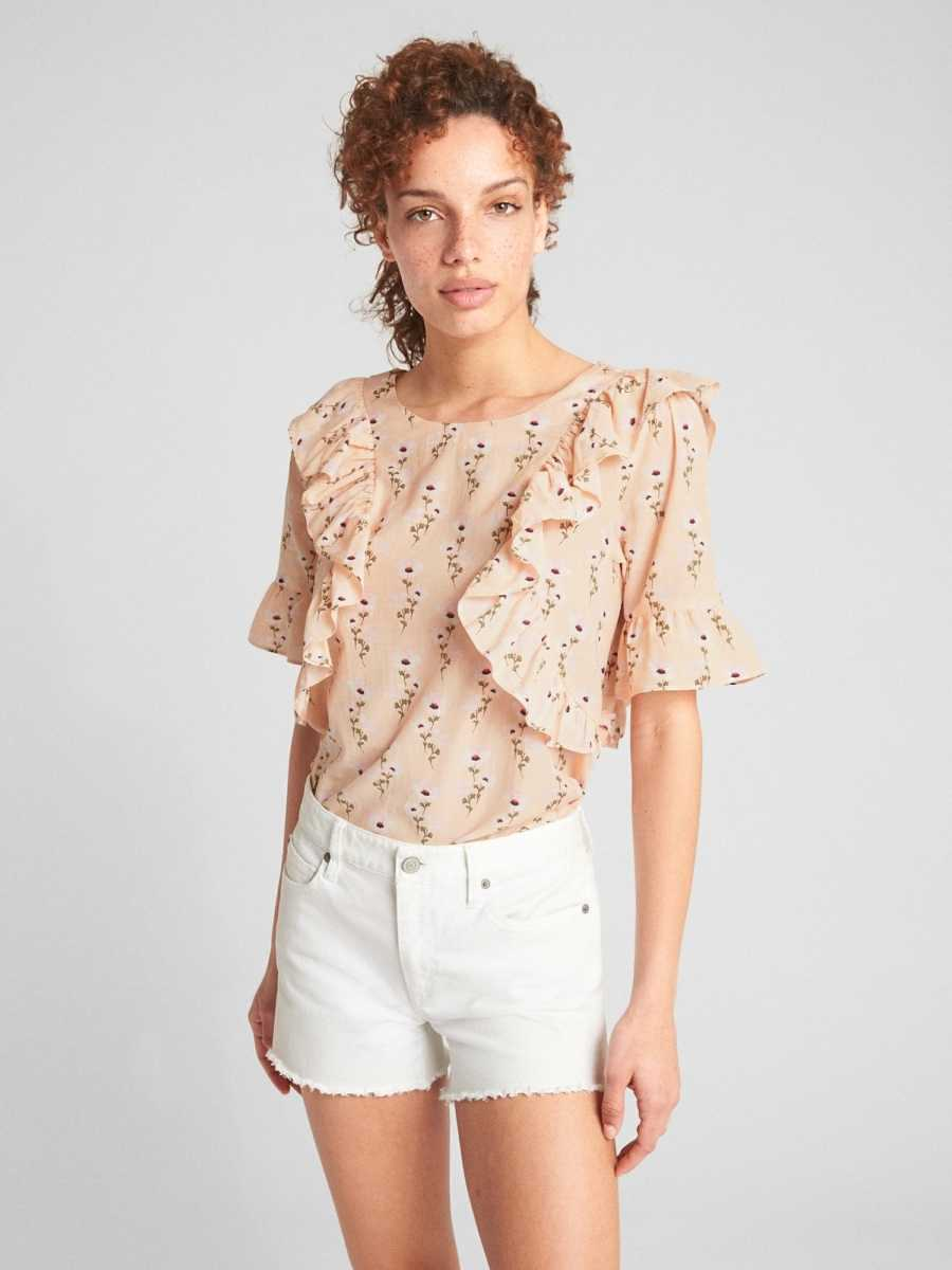 Cascading Ruffle Blouse in Floral Print Viscose Pink Floral - Gap - GOOFASH