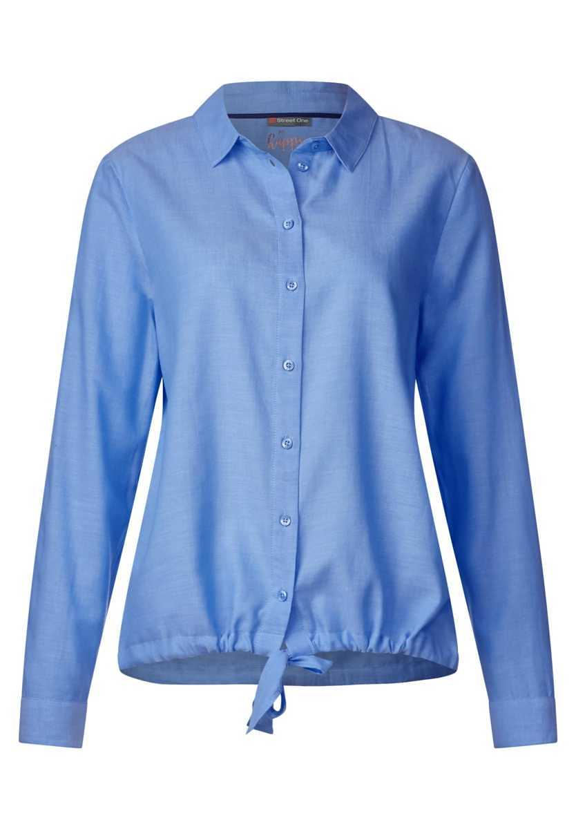Chambray blouse with knots - sailing blue - Street One - GOOFASH