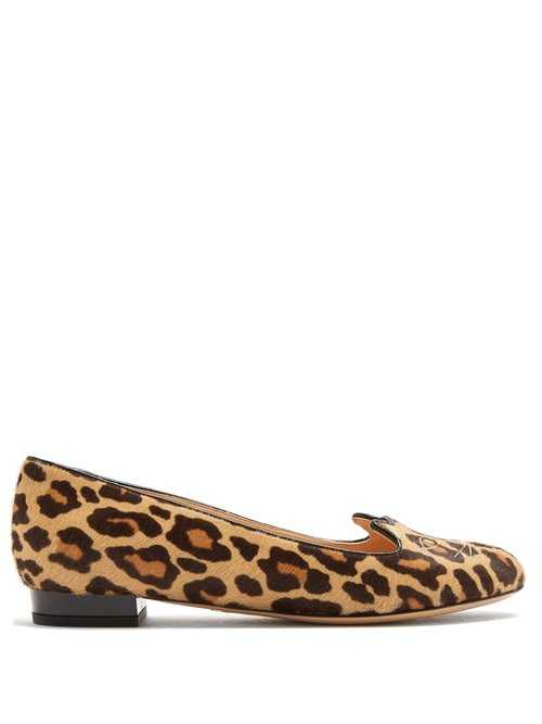 Charlotte Olympia - Kitty Leopard Print Calf Hair Flats - Brown Brown - Matches Fashion - GOOFASH