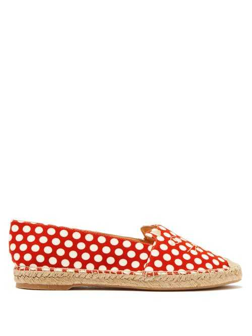 Charlotte Olympia - Kitty Polka Dot Canvas Espadrilles - Red Red - Matches Fashion - GOOFASH
