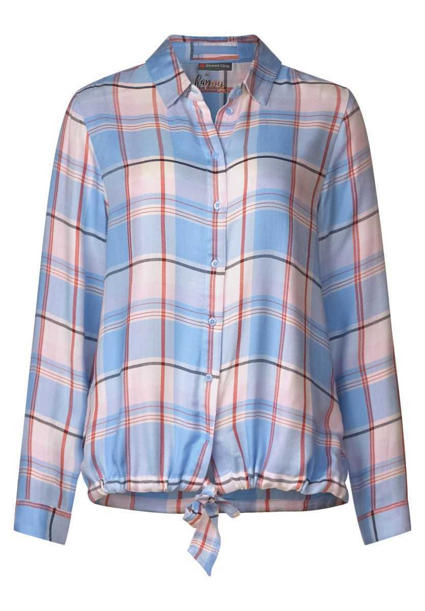 Checked blouse - cosmic blue - Street One - GOOFASH
