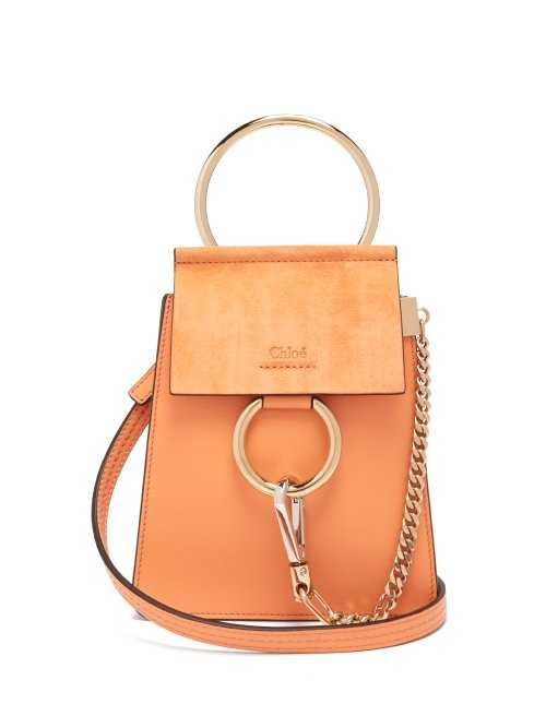 Chloé - Faye Mini Suede Panel Leather Cross Body Bag - Coral Coral - Matches Fashion - GOOFASH