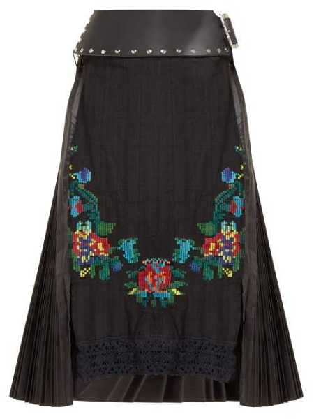 Chopova Lowena - Floral Embroidered Pleated Wool Blend Skirt - Black Black - Matches Fashion - GOOFASH