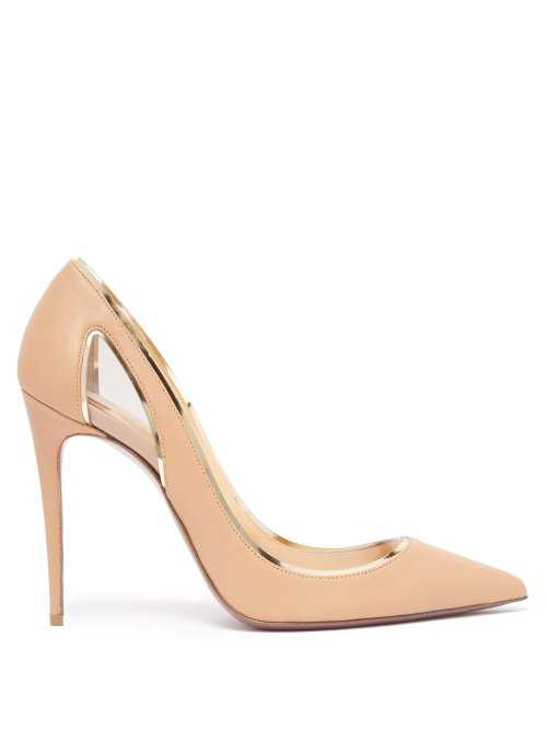 Christian Louboutin - Cosmo 554 Tan Leather And Perspex Pumps - Beige Beige - Matches Fashion - GOOFASH
