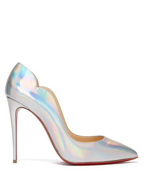 Christian Louboutin - Hot Chick 100 Leather Pumps - Silver Silver - Matches Fashion - GOOFASH