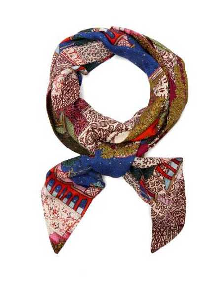 Chufy - Camel Scene Print Satin Scarf - Blue Blue - Matches Fashion - GOOFASH