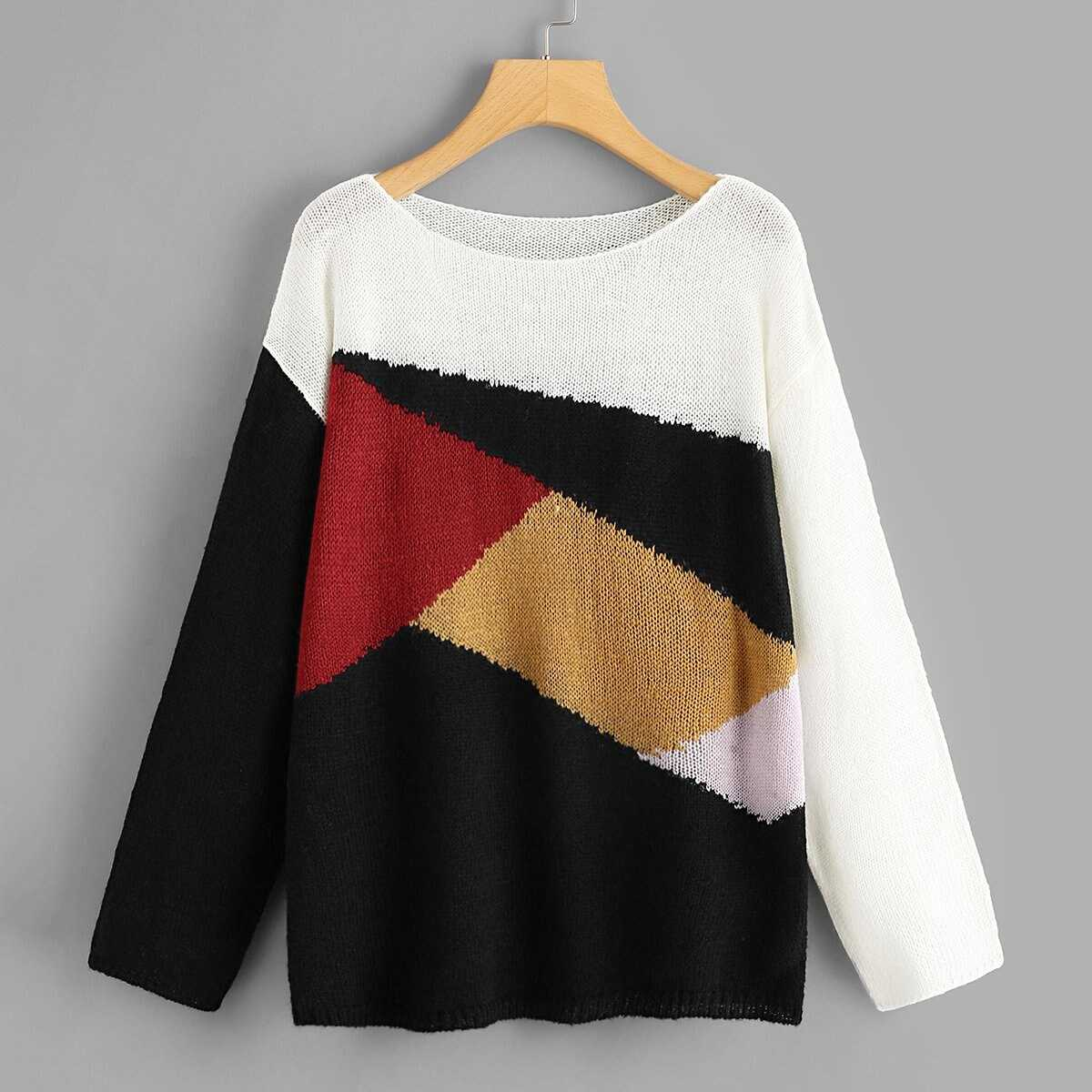 339b7dc66bb7 Color Block Drop Shoulder Sweater Shein | GOOFASH SHOP