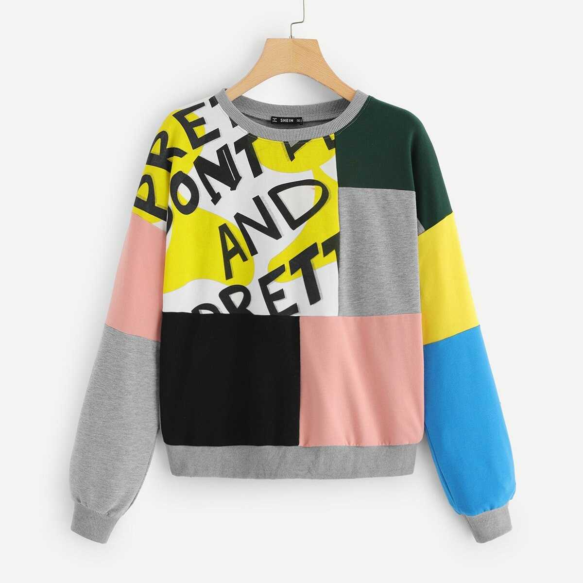 eda7fb107222 Color Block Letter Pullover Shein | GOOFASH SHOP