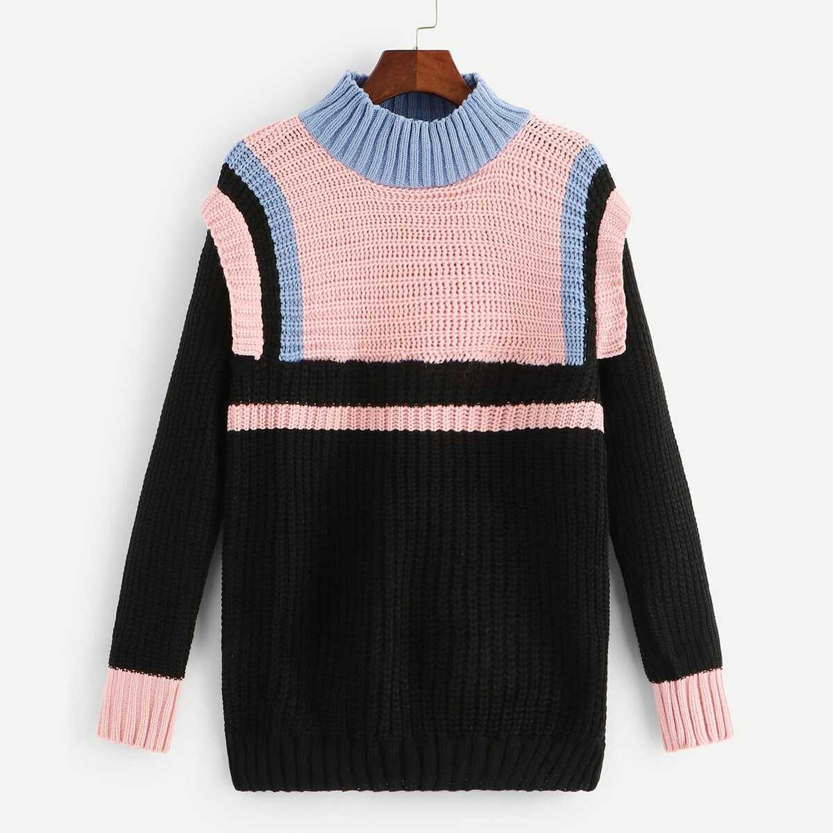 ec191302324c Colorblock Stand Collar Sweater Shein | GOOFASH SHOP