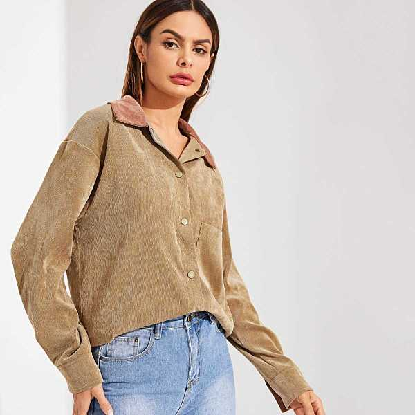 Contrast Collar Pocket Patched Corduroy Utility Shirt - Shein - GOOFASH