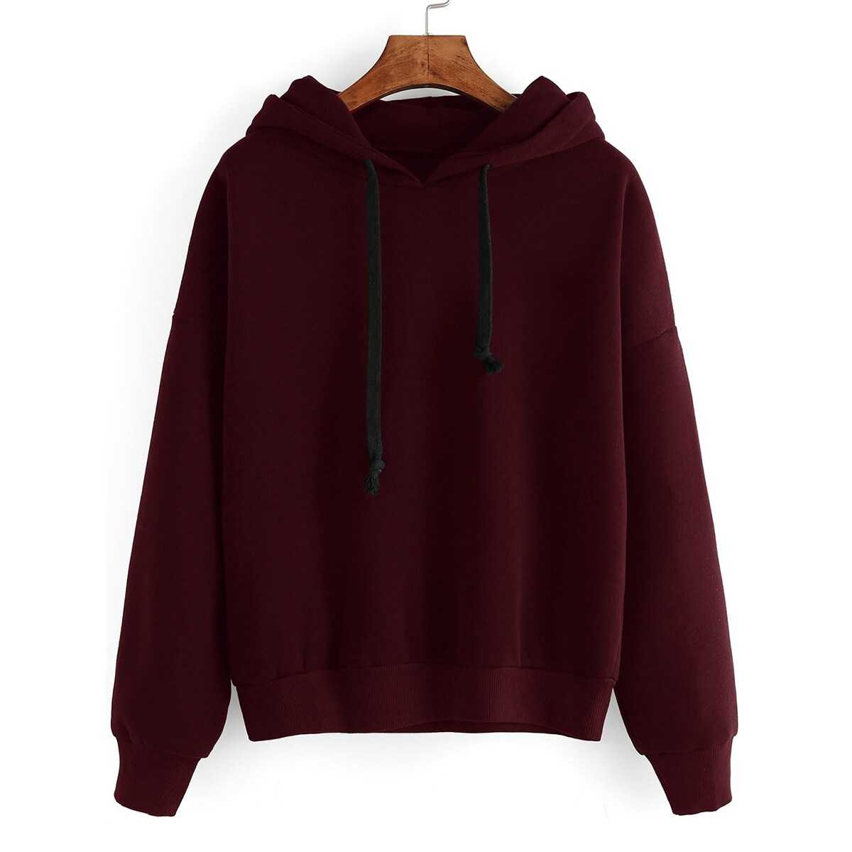 f6430c94ec17 Contrast Drawstring Drop Shoulder Hooded Sweatshirt Shein | GOOFASH SHOP