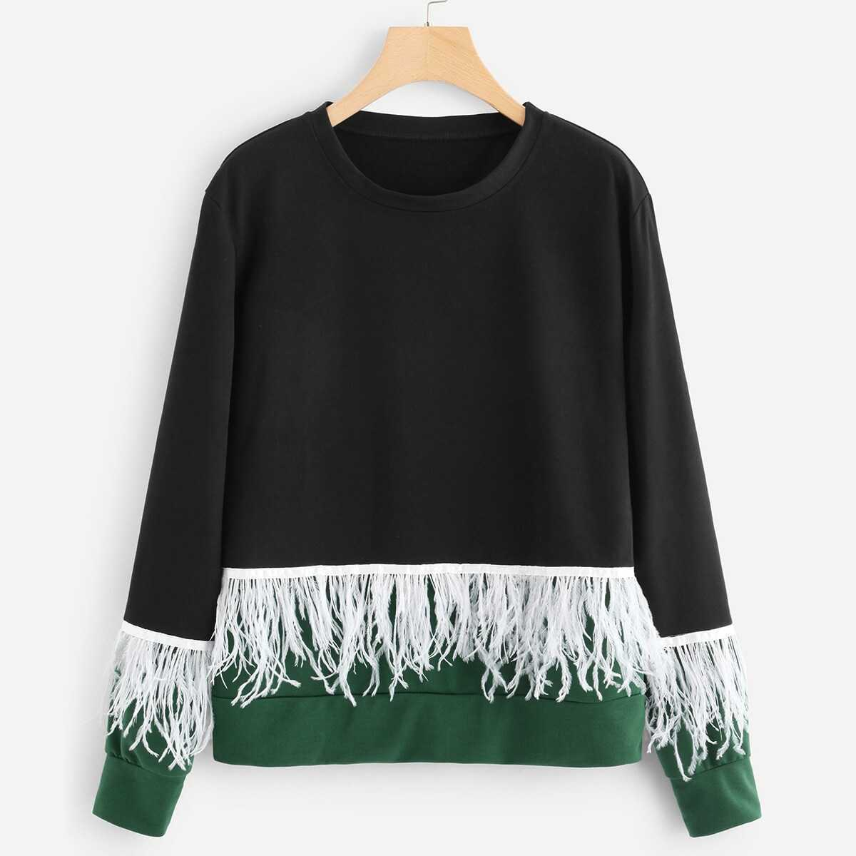 e8a152a4b938 Contrast Feather Color Block Sweatshirt Shein | GOOFASH SHOP