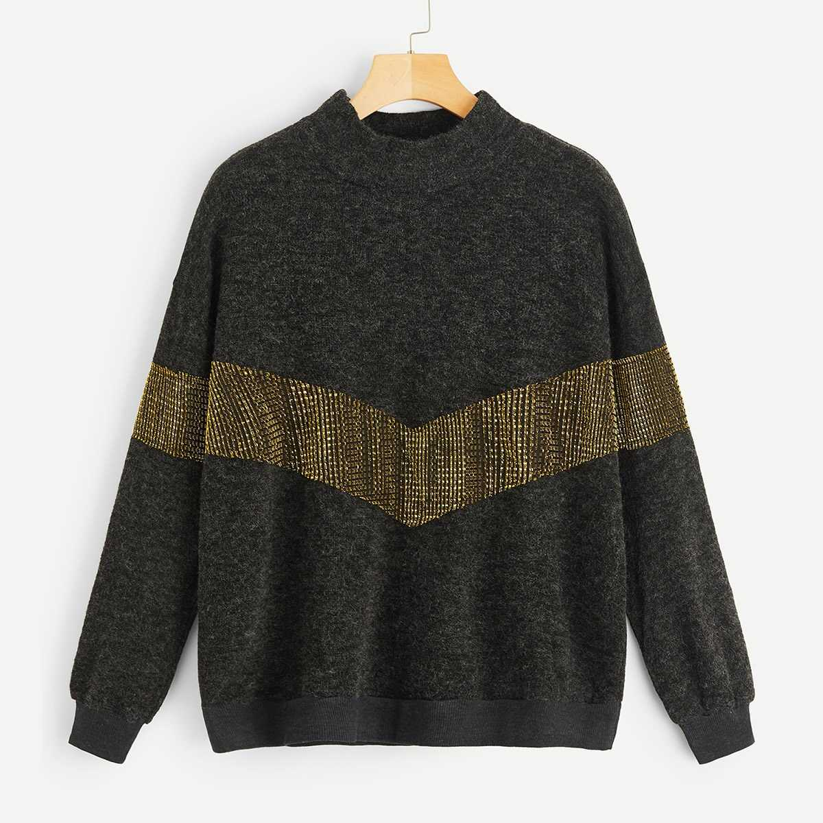 3a38230e67cb Contrast Panel Drop Shoulder Sweater Shein | GOOFASH SHOP