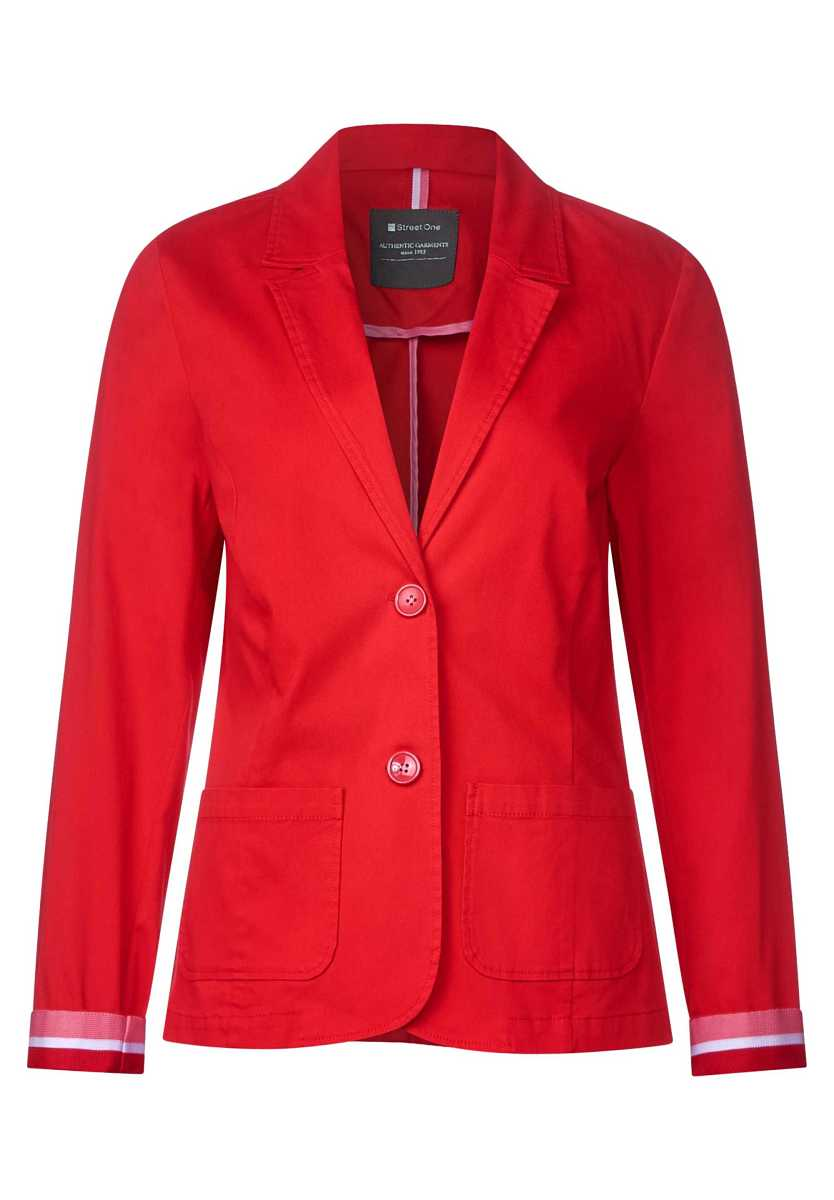 Cotton blazer - vivid red - Street One - GOOFASH