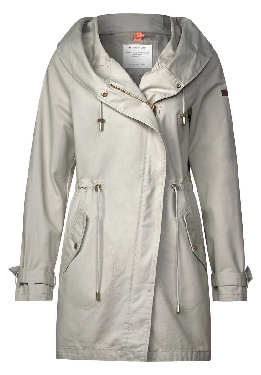 Cotton parka with hood - sand gray - Street One - GOOFASH