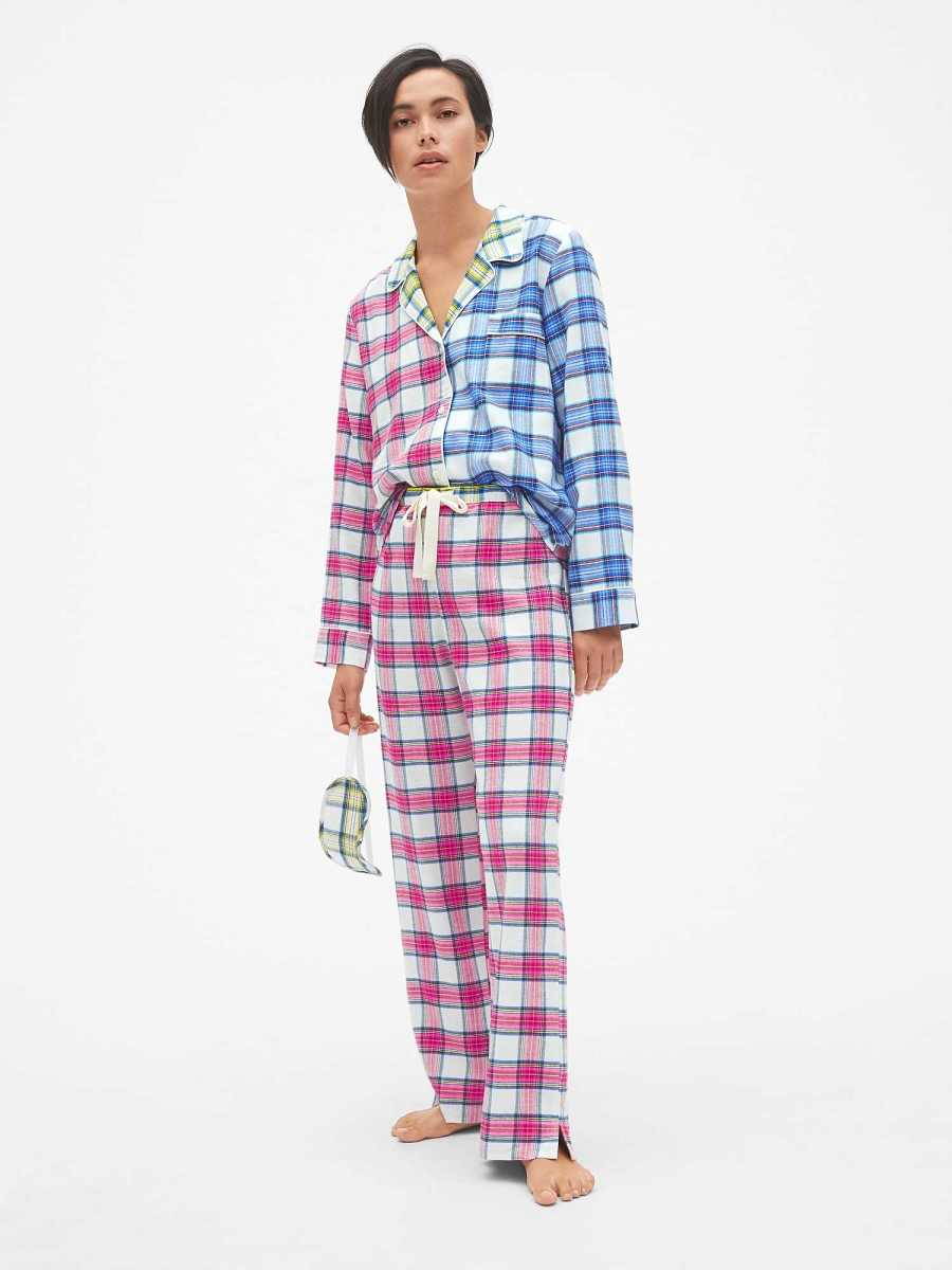 Cozy Flannel PJ Set with Eye Mask Tartan Plaid Pink - Gap - GOOFASH