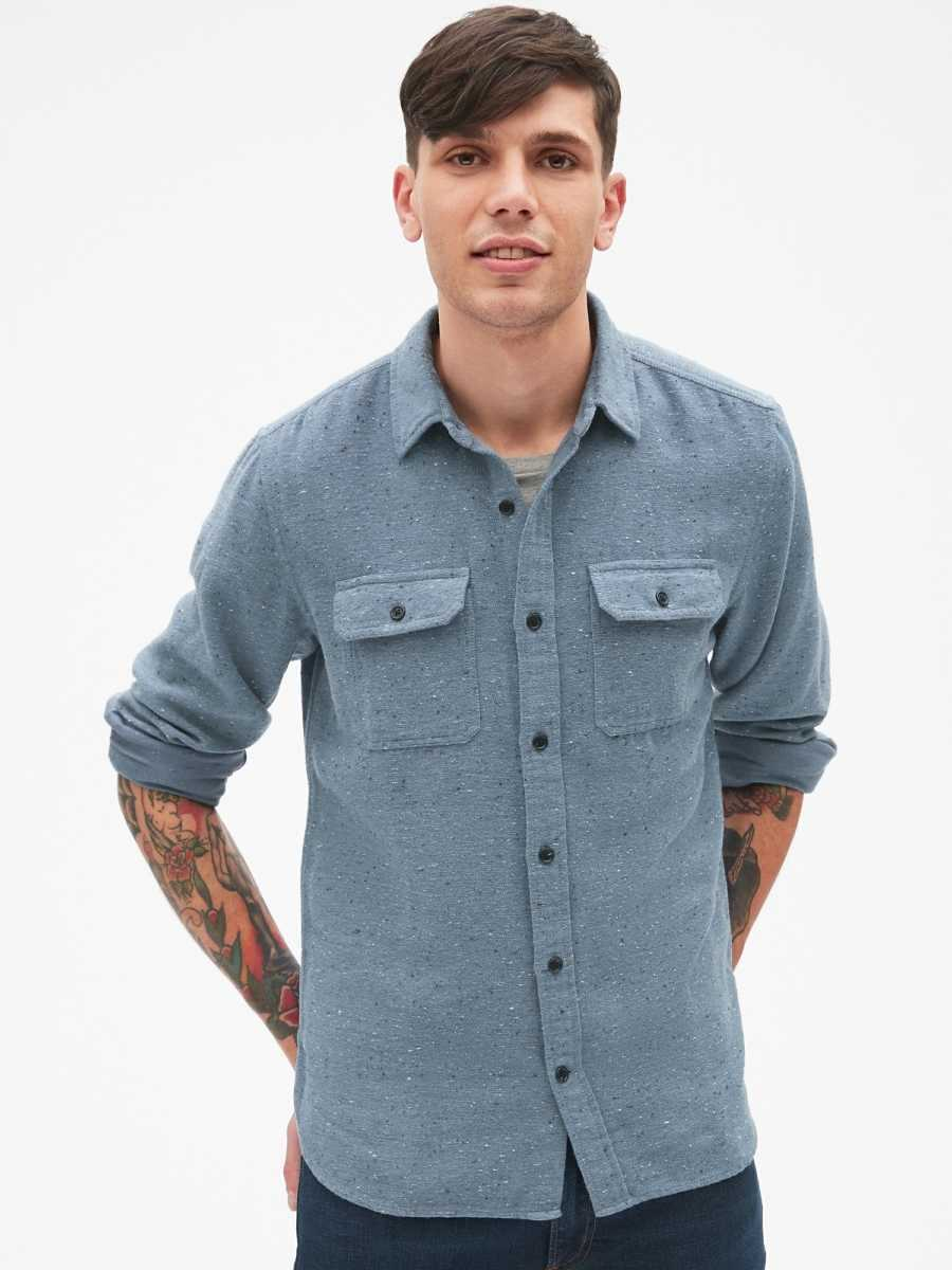 Cozy Textured Overshirt Light Blue - Gap - GOOFASH