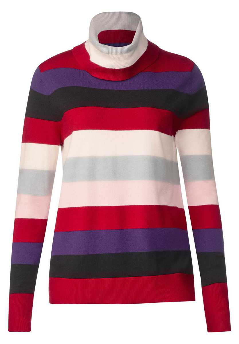 Cozy stripes sweater - pure red - Street One - GOOFASH