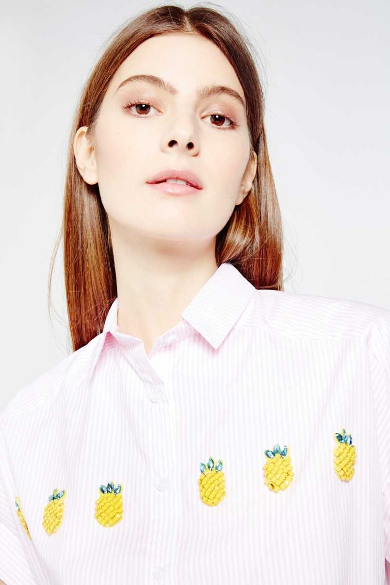 Cubic Cropped Shirt With Pineapple Embellishment - Own The Look - GOOFASH