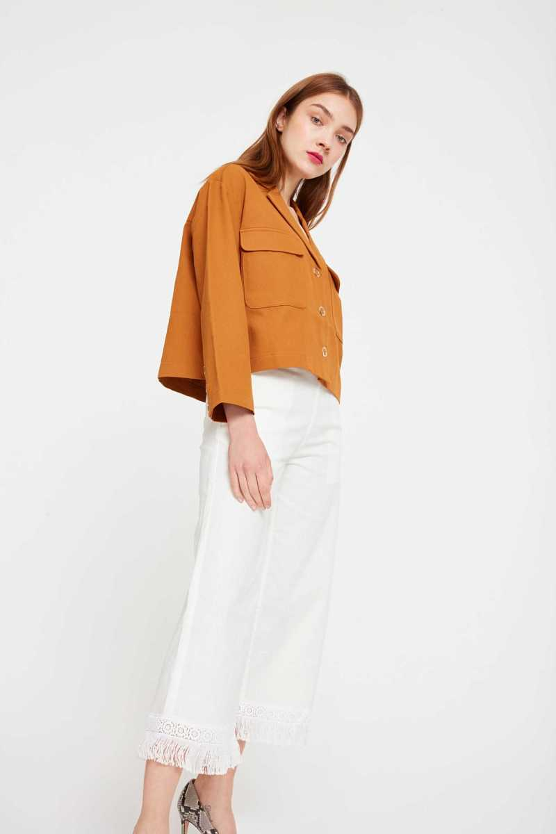Cubic Cropped Trousers With Frayed Hem  - White - Own The Look - GOOFASH
