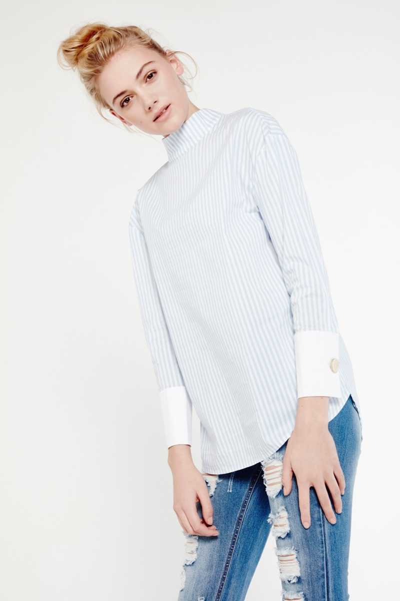 Cubic High Neck Pin Striped Shirt - Own The Look - GOOFASH