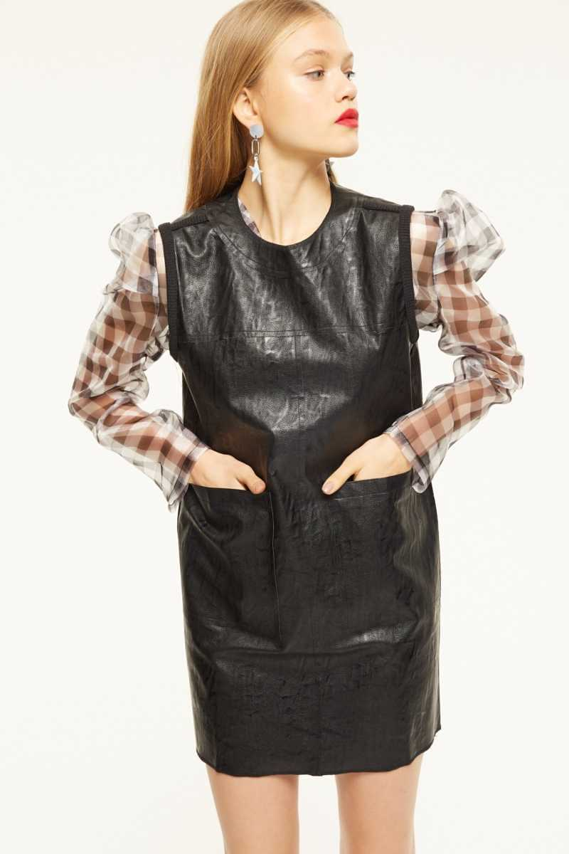 Cubic Leather Look Mini Dress With Front Pockets  - Black - Own The Look - GOOFASH