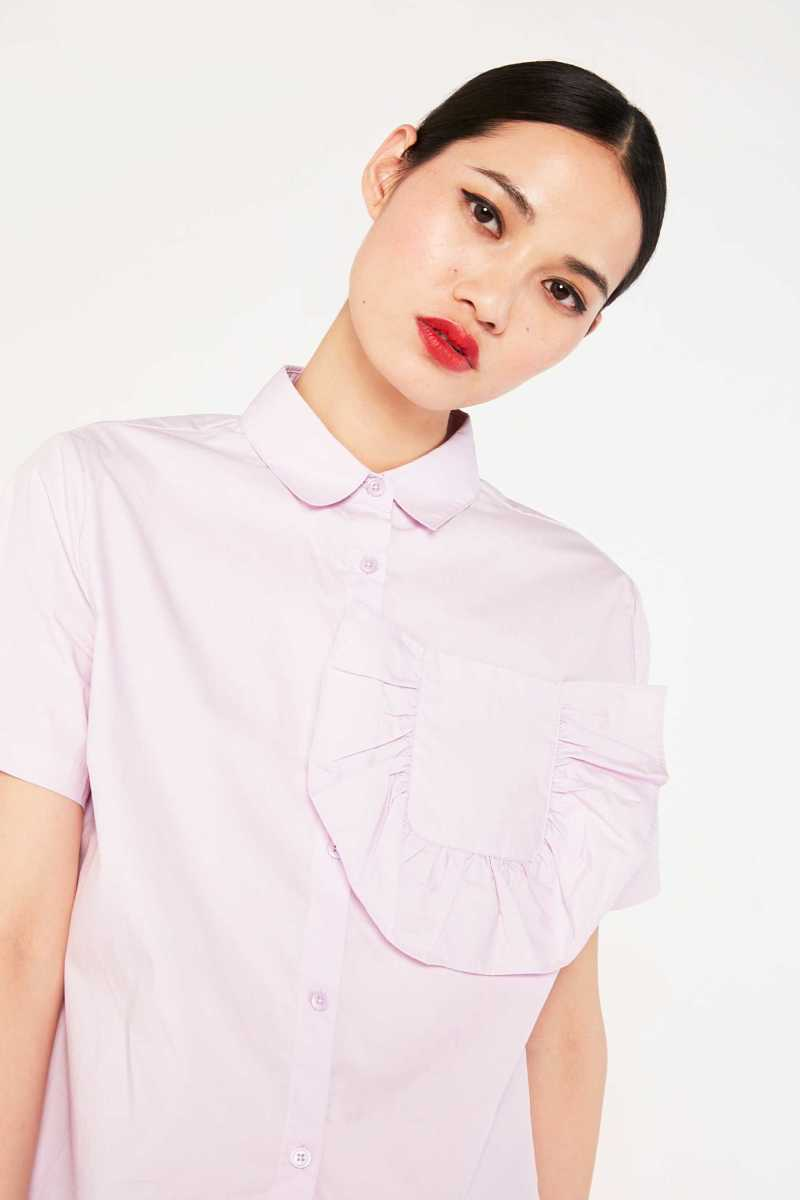 Cubic Short Sleeved Shirt With Frill Pocket  - Purple - Own The Look - GOOFASH
