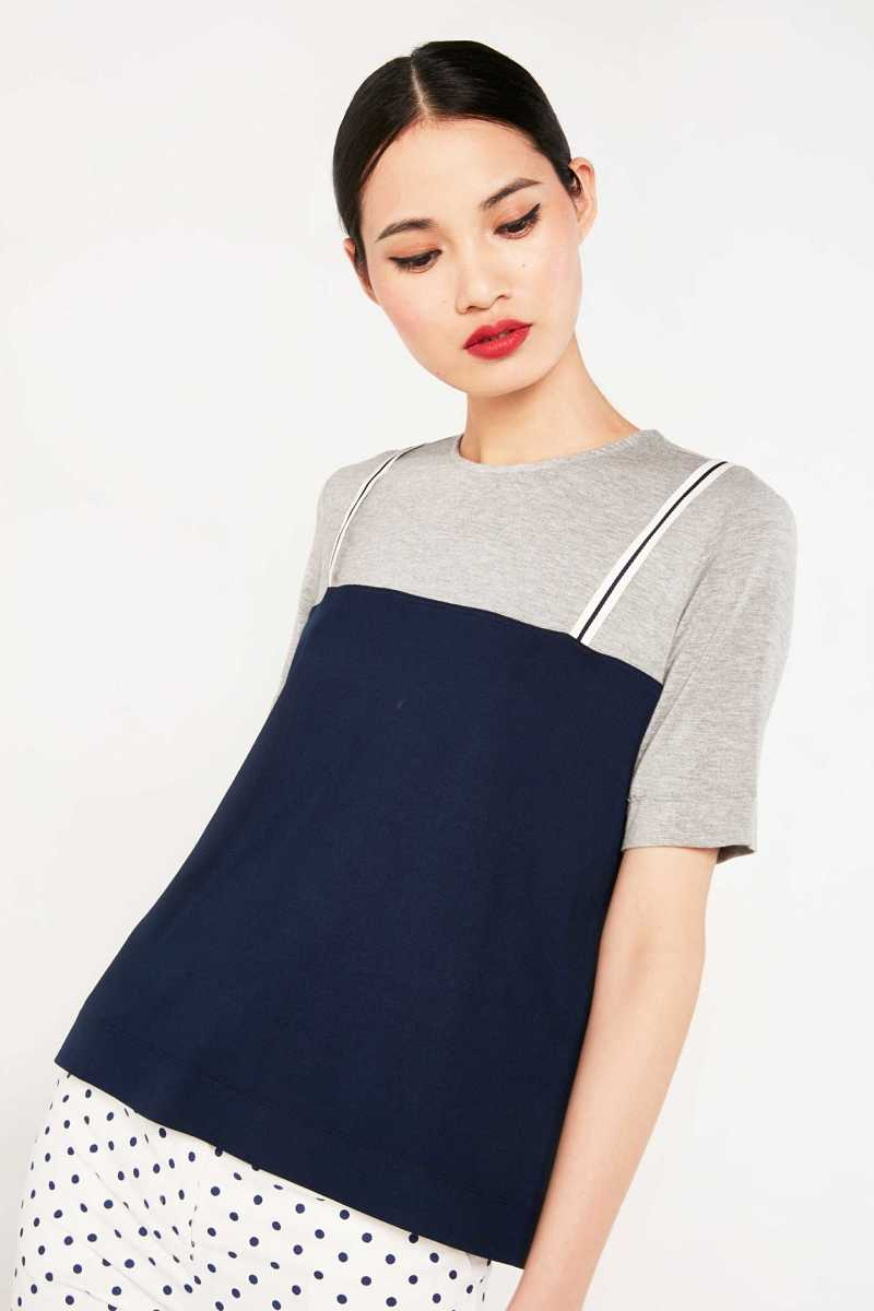 Cubic T-Shirt With Cami Overlay  - Navy - Own The Look - GOOFASH