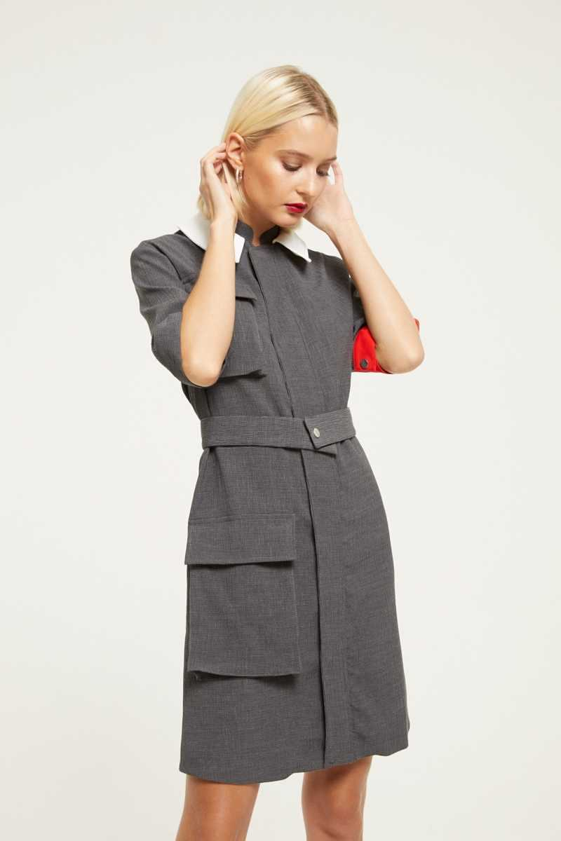 Cubic Utility Style Dress  - Grey - Own The Look - GOOFASH