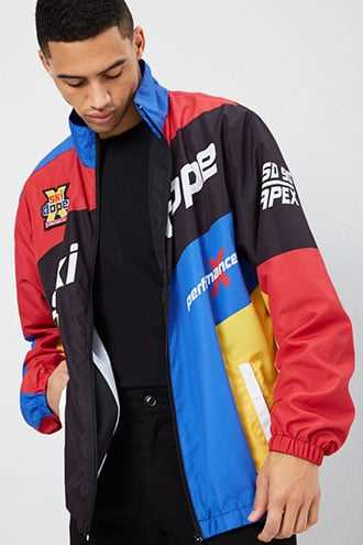 DOPE Graphic Colorblock Jacket at Forever 21  Black/red GOOFASH 2000328997015