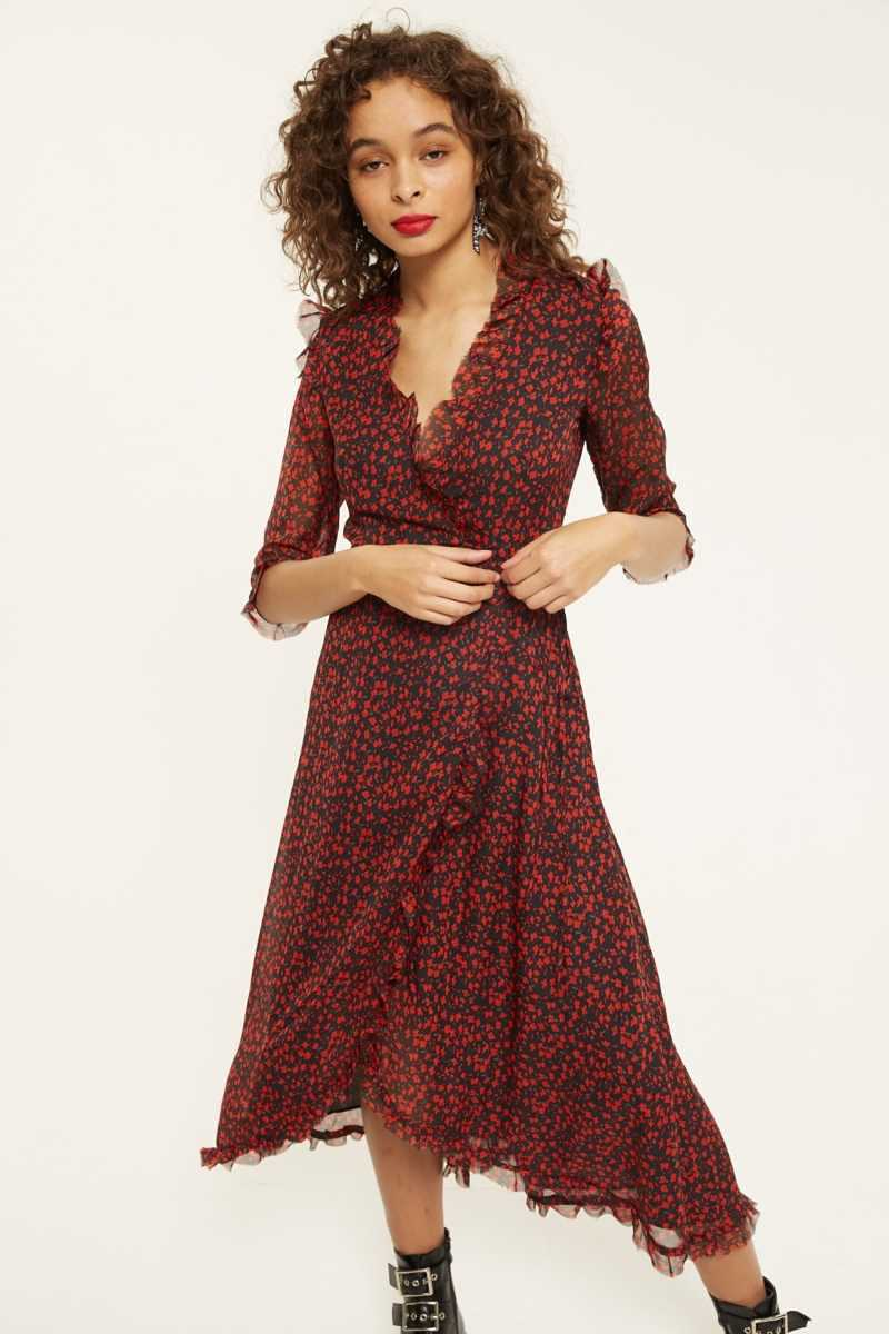 Daphnea Floral Maxi Dress With Frill Detail - Own The Look - GOOFASH