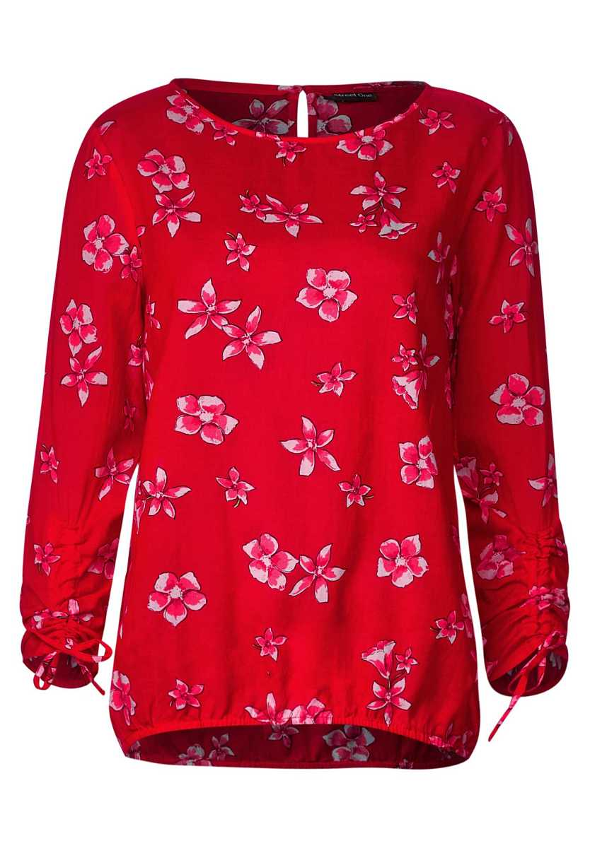Delicate blouse with print - vivid red - Street One - GOOFASH