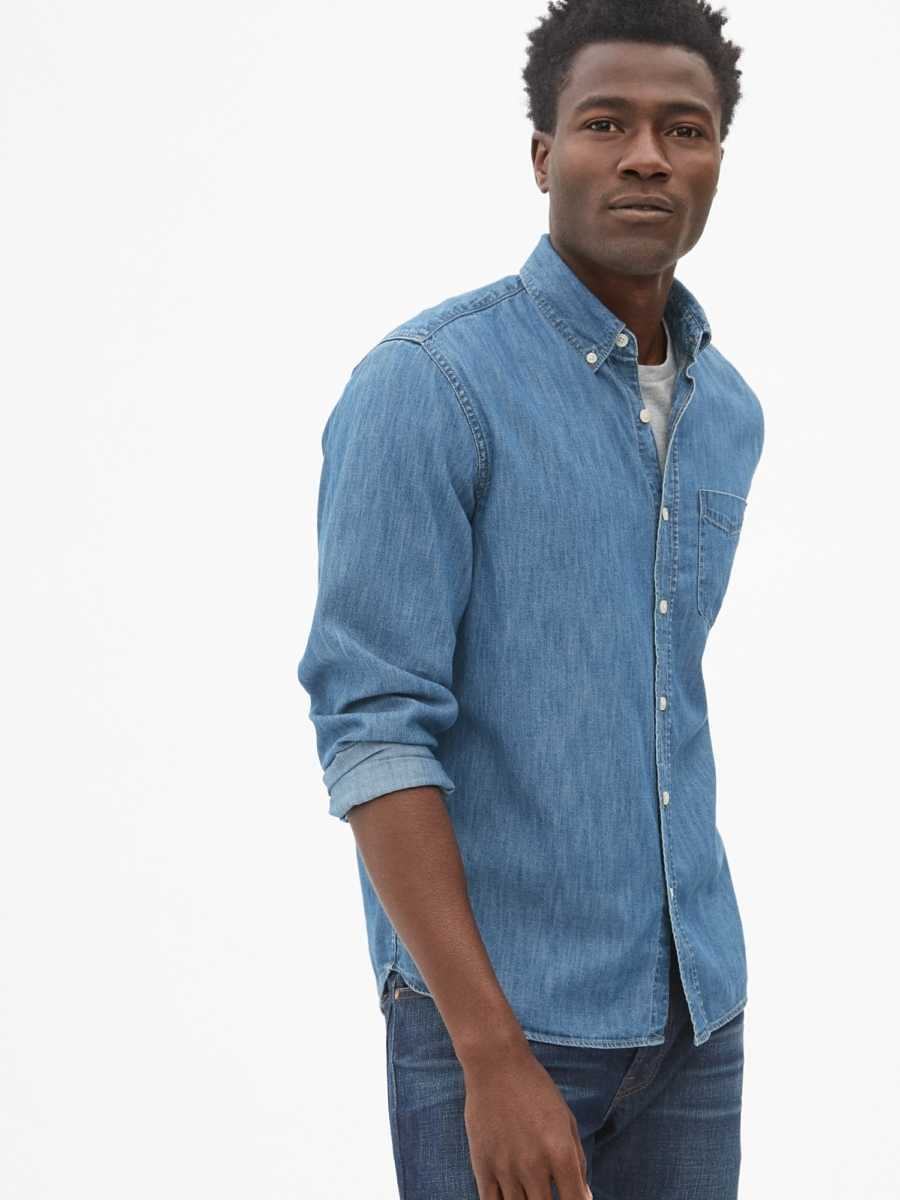 Denim Untucked Fit Shirt Medium Wash - Gap - GOOFASH