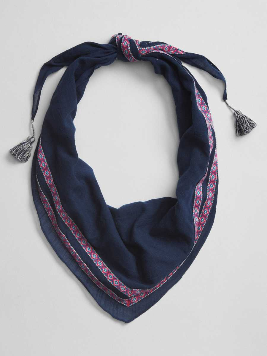 Diamond Tassel Scarf Navy - Gap - GOOFASH