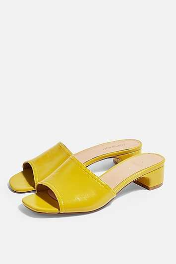 Diva Chartreuse Mules - Chartreuse - Topshop - GOOFASH - 602019001321080