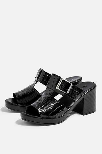 Dixie Black Buckle Mules - Black - Topshop - GOOFASH - 602019001324005