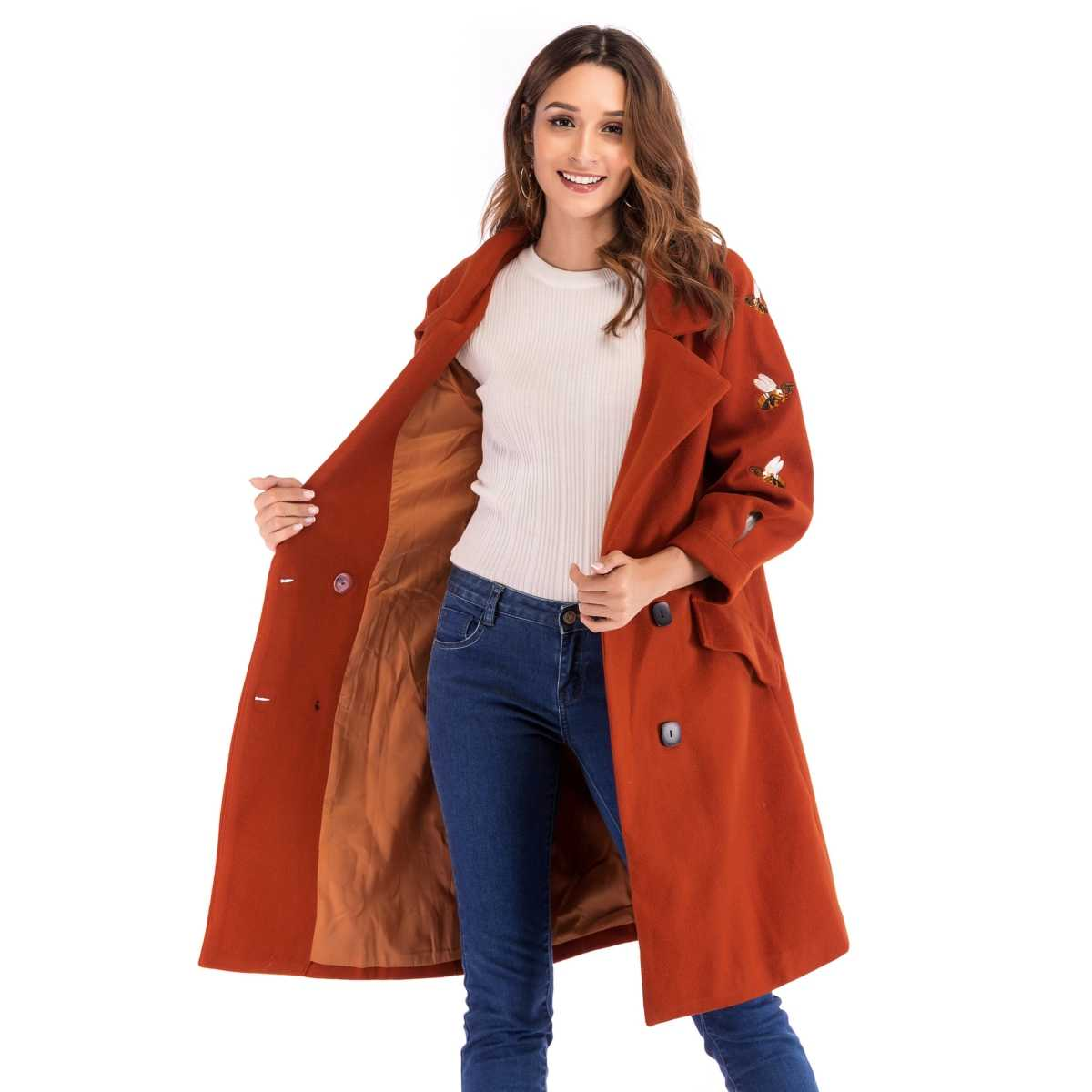 Double Breasted Embroidered Coat - Shein - GOOFASH