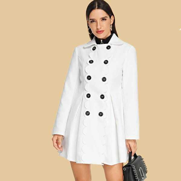 Double Breasted Scallop Detail Flared Coat - Shein - GOOFASH