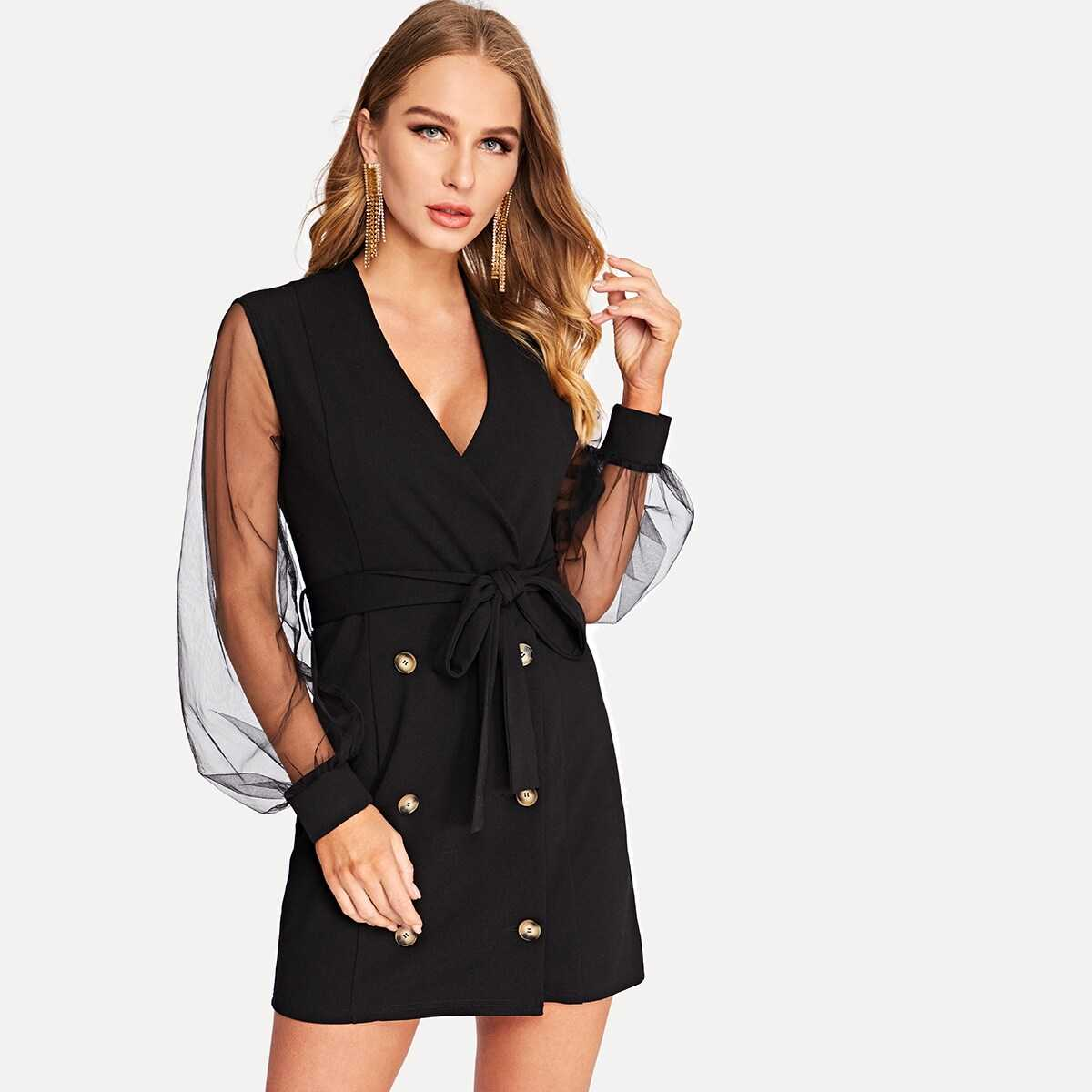 Double Button Sheer Mesh Sleeve Belted Coat - Shein - GOOFASH