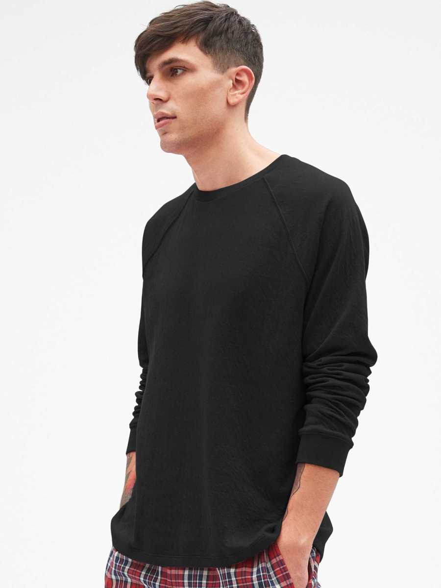Double-Face Long Sleeve Raglan T-Shirt Black - Gap - GOOFASH