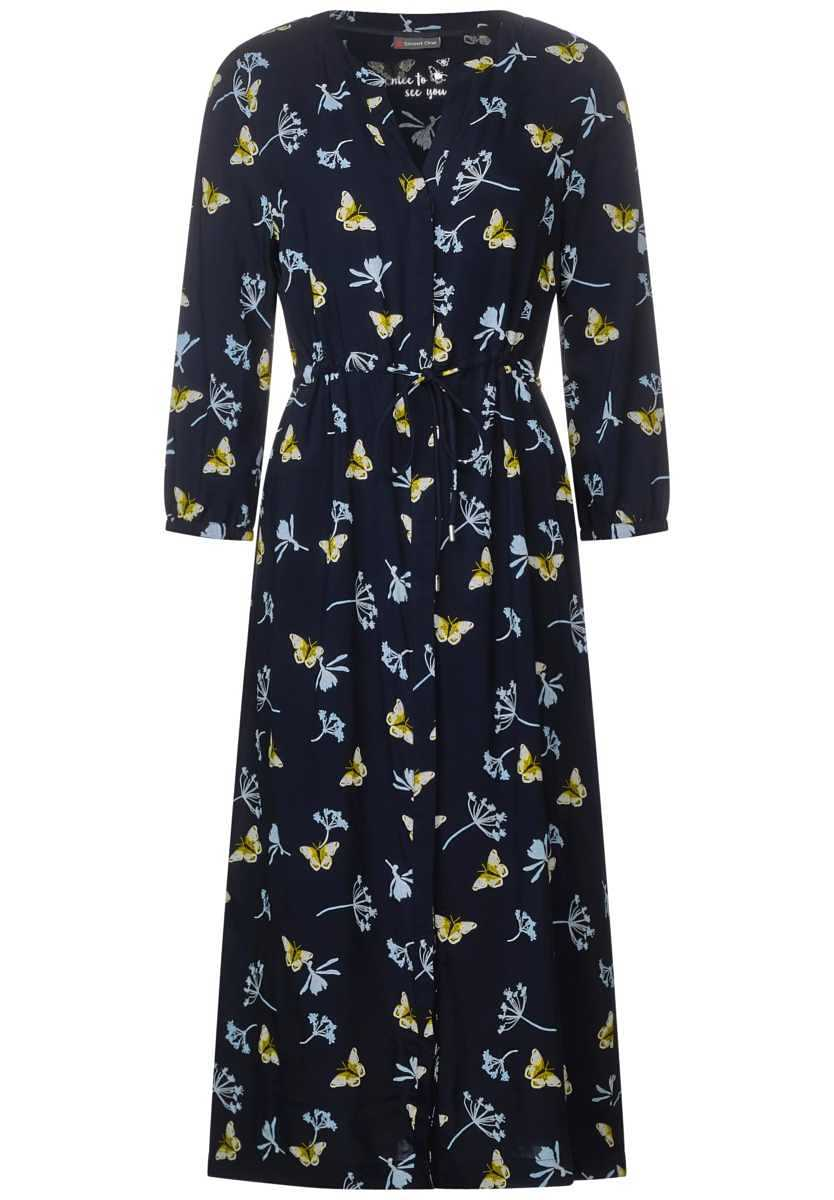 Dress with butterfly print - deep blue - Street One - GOOFASH