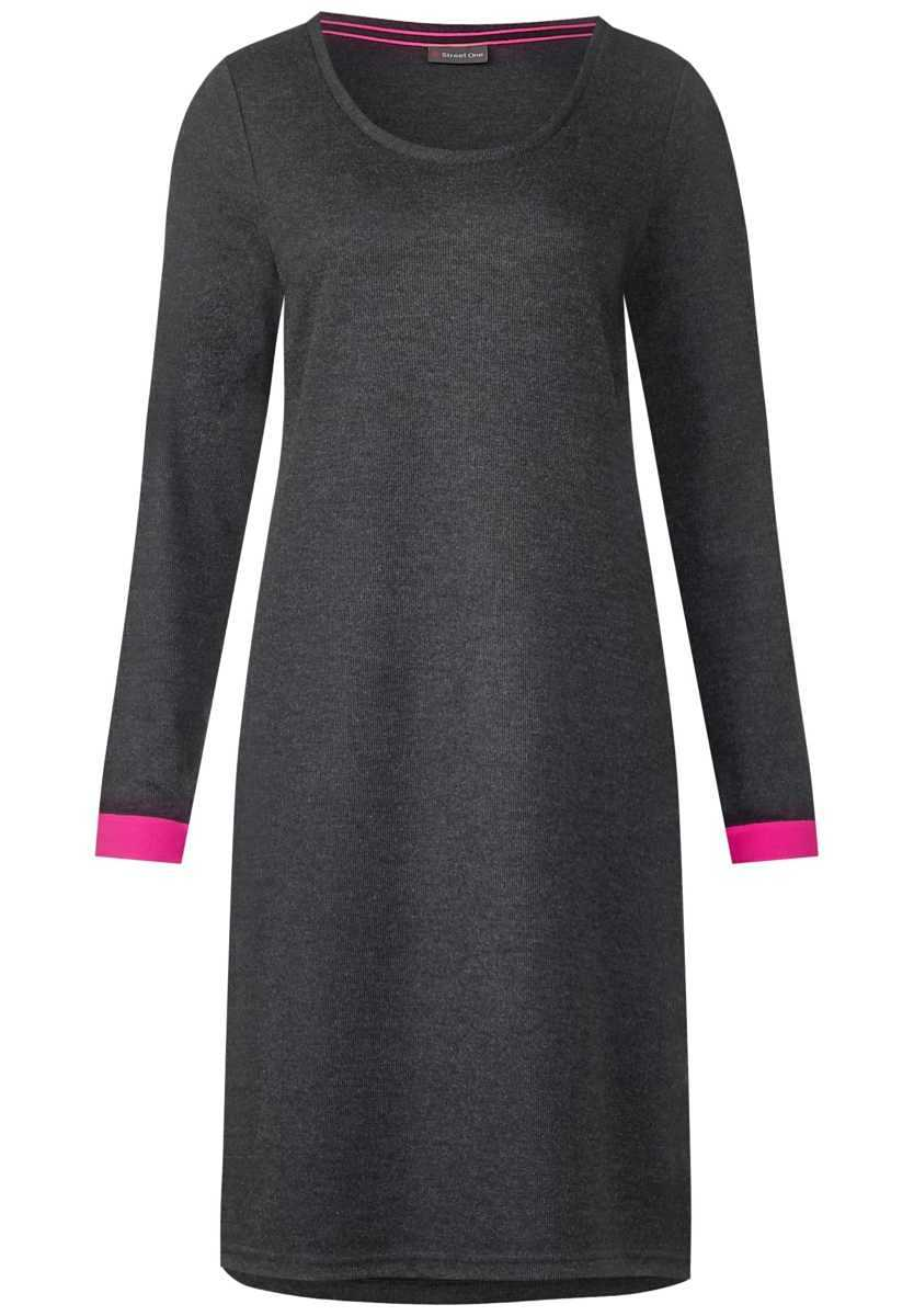 Dress with color detail - anthracite melange - Street One - GOOFASH