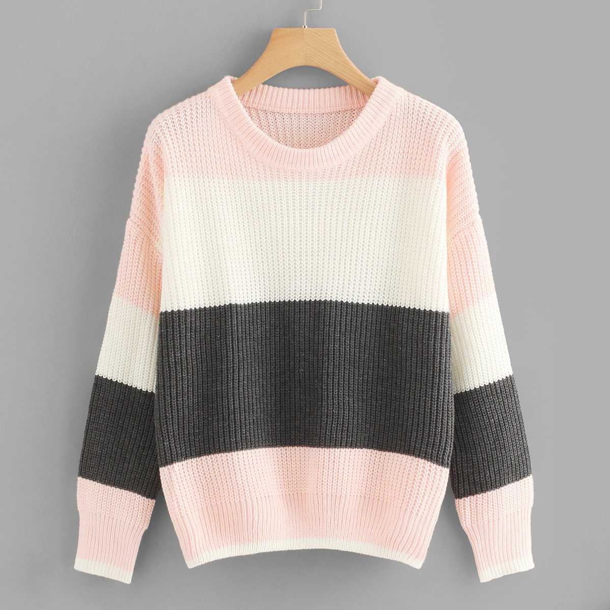 22c1aecc65be Drop Shoulder Color-Block Jumper Shein | GOOFASH SHOP